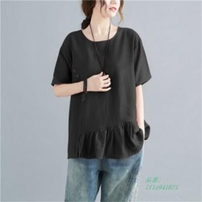 ブラウス シャツ トップス レディース 半袖 無地 40代 フボタン飾り 夏 20代 大きいサイズ 切替 Tシャツ 体型カバー ゆったり