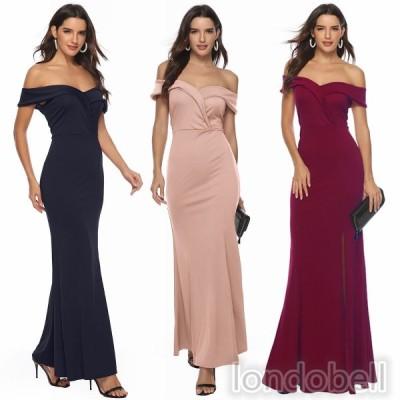 3色 ウェディングドレス パーティードレス カラードレス イブニングドレス 演奏会 カラオケ大会 ステージ衣装 Vネック 半袖 ワンピース ロングドレス お呼ばれ