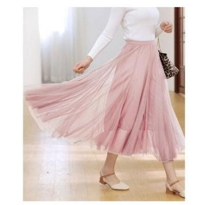 ドゥー ベル Doux Belle チュールスカート レディース ロングスカート ウエストゴム (ピンク)