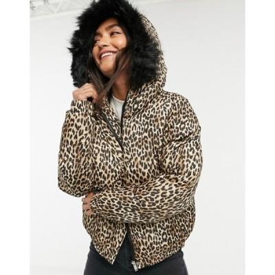 ブレーブソウル レディース コート アウター Brave Soul Fernie leopard puffer coat