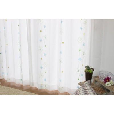 レースカーテン 刺繍 既製品 (100×176:2枚セット) パルティ ブルー