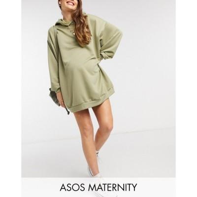 エイソス ASOS Maternity レディース ワンピース ASOS DESIGN Maternity oversized mini sweatshirt hoodie dress in dark sage