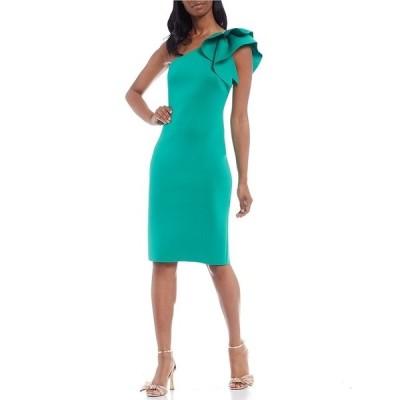 エリザジェイ レディース ワンピース トップス Ruffle One Shoulder 3D Scuba Sheath Dress Green