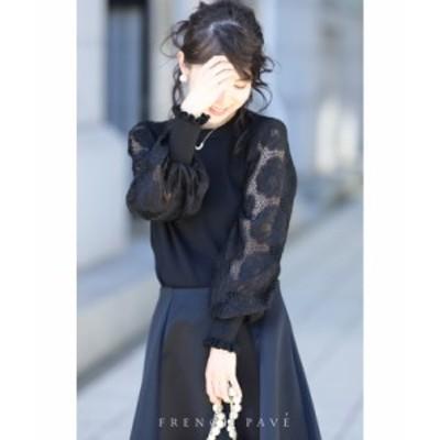3月15日 再入荷♪ w68521 (ブラック)「FRENCH PAVE」 (黒)華麗なる薔薇ポワン袖のニットトップス ポワン袖 ニット トップス レ