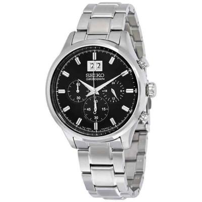 セイコー 腕時計 Seiko クロノグラフ Black Dial Stainless Steel メンズ Watch SPC083