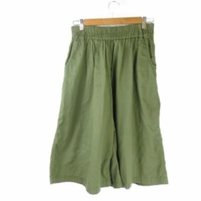【中古】ダブルクローゼット w closet wears inc. パンツ ワイド スカーチョ ハイウエスト ウエストゴム 緑 グリーン