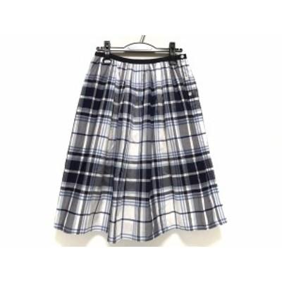 マーガレットハウエル MargaretHowell スカート サイズ2 M レディース 白×グレー×マルチ チェック柄【還元祭対象】【中古】20201006