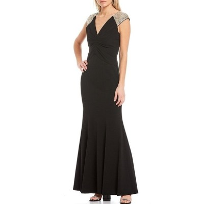 ヴィンスカムート レディース ワンピース トップス Short Sleeve Sequined Yoke Gown Black and Gold