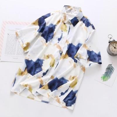 夏コーデにぴったり! タイダイ柄 前開き スタンドカラー 半袖 シャツ フリーサイズ 送料無料 メンズライク レディース春夏