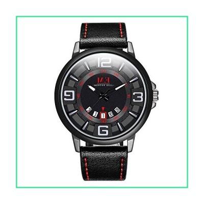 Menton Ezil Menfs Sport Leather Strap Analog Quartz Waterproof Watches Auto Calendar Wrist Watch, Gift for Men (Black)