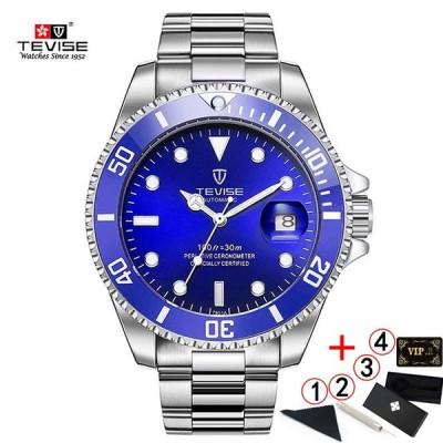 TEVISE男性2020防水メンズ腕時計-blue-silver-box