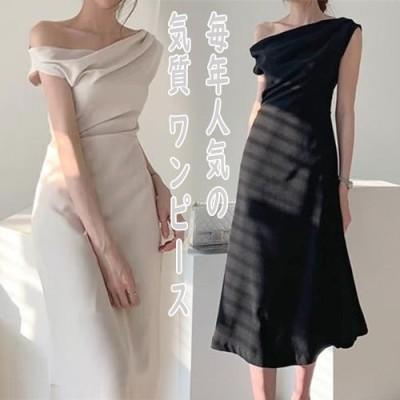 [55555SHOP]  毎年人気の 気質 ワイルド  ワンピース ワンネック オフショルダー プリーツ ハイウエストスリム スリム ミディアムレングス ドレス