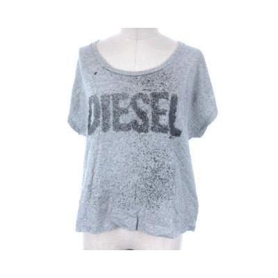【中古】ディーゼル DIESEL Tシャツ カットソー プリント ロゴ 半袖 グレー XS レディース 【ベクトル 古着】