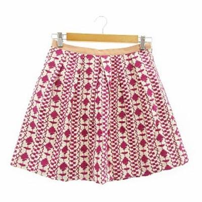 【中古】チェスティ Chesty スカート ギャザー ミニ 刺繍 総柄 タック 0 ピンク /AAM6 レディース