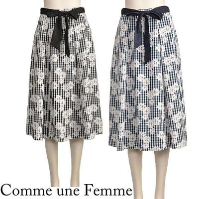 ギンガムチェック 花柄 スカート ひざ丈 きれいめ ネイビー 黒 Comme une Femme 40代 50代