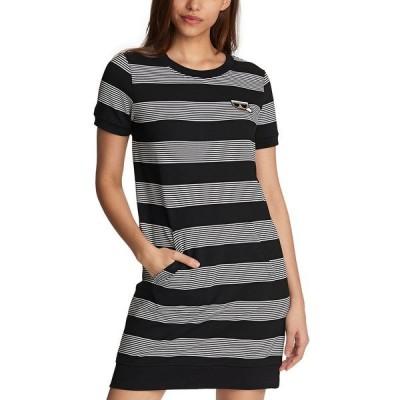 カールラガーフェルド ワンピース トップス レディース Karl Lagerfeld Striped T-Shirt Dress Black/Gray