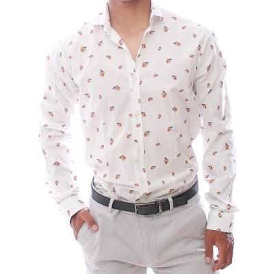 長袖シャツ ストレッチ カジュアルシャツ メンズ コットン 熱帯魚 白 S/M/L/XL/XXL 大きいもサイズ入荷 春/夏/秋