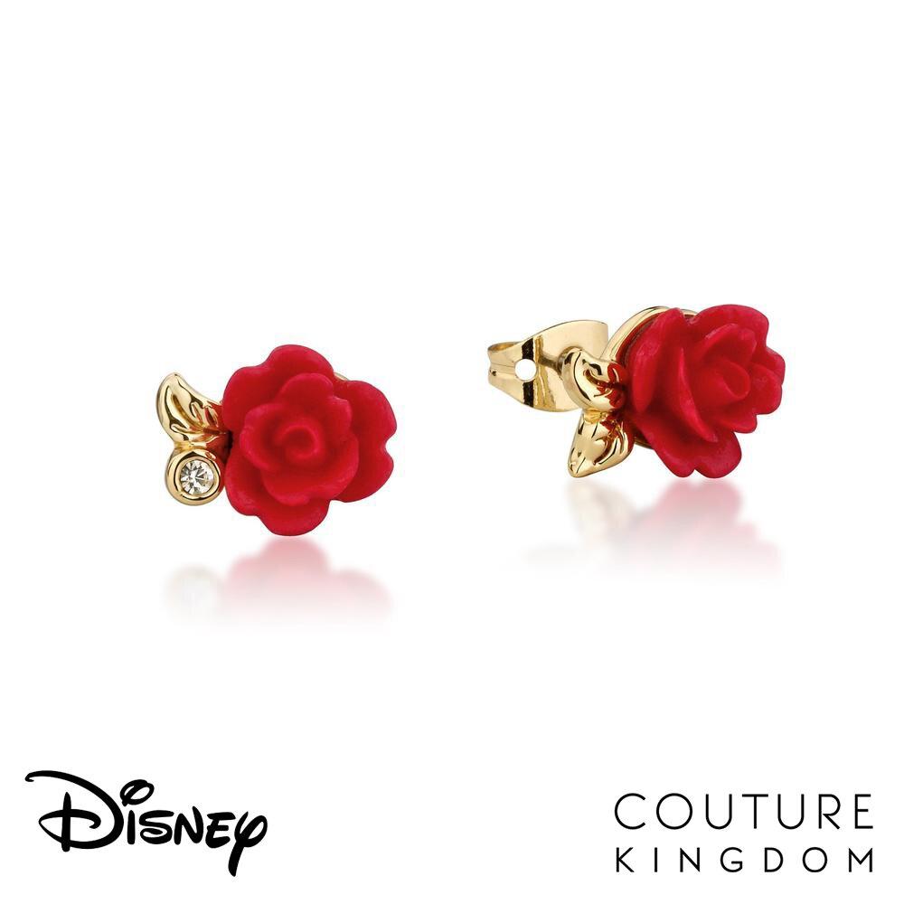 Disney Jewellery Enchanted Rose Earrings by Couture Kingdom 迪士尼美女與野獸 永生玫瑰花鍍14K金耳釘