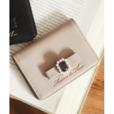 Maison de FLEUR / パールビジュー合皮リボンカードケース WOMEN 財布/小物 > その他小物