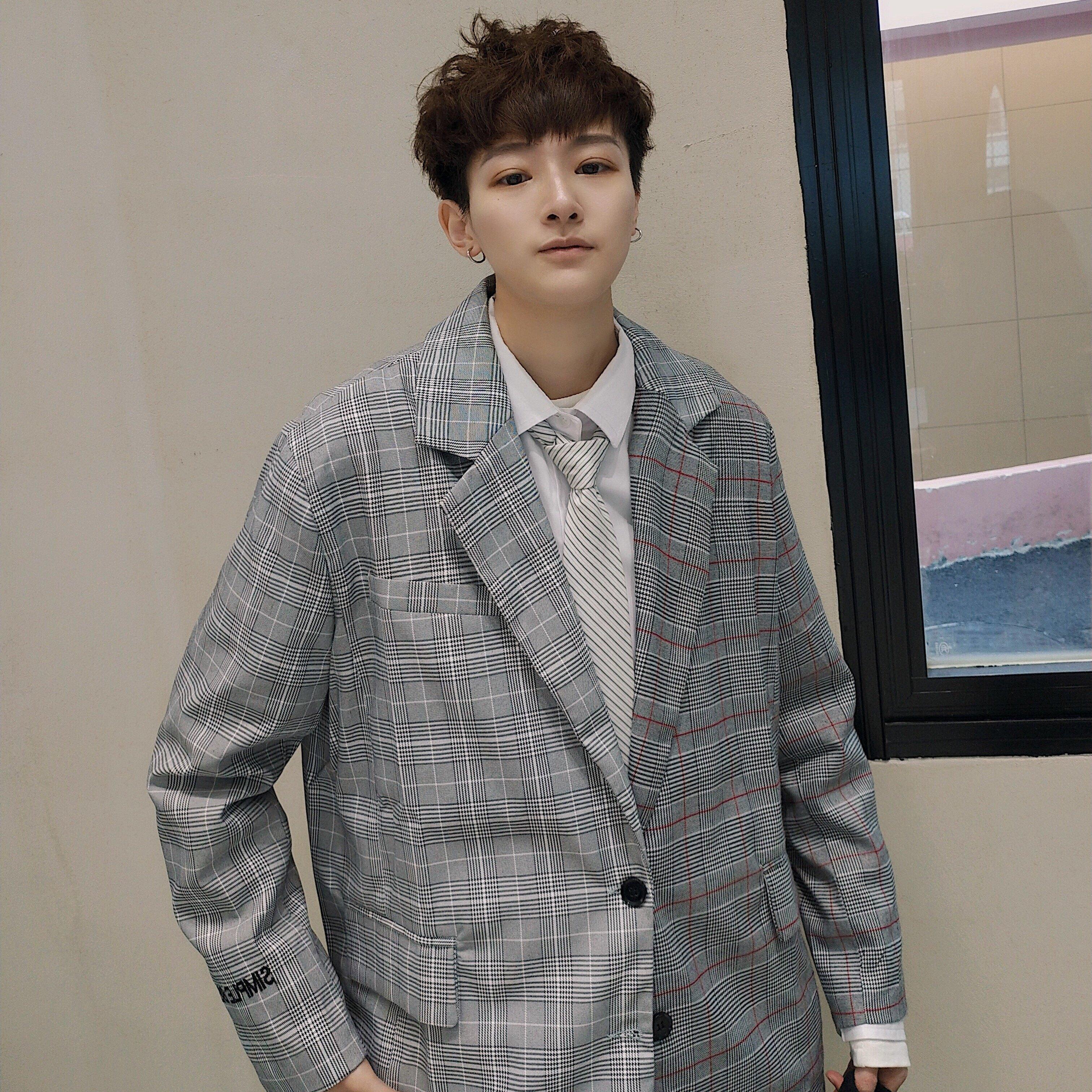 FINDSENSE品牌 韓國 格子 拼接 英倫 男 舒適修身 小西裝  西裝外套 單件外套