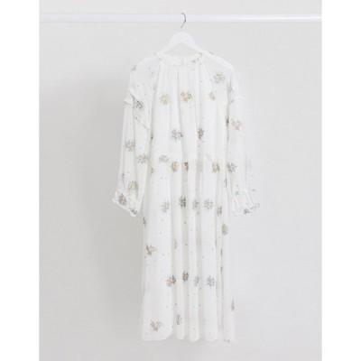 ロストインク レディース ワンピース トップス Lost Ink midaxi dress with frill sleeve detail and floral embroidery