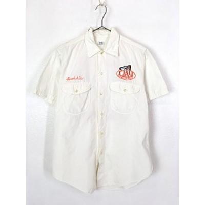 古着 60s USA製 Lee 豪華 チェーン 刺しゅう マチ付 ホワイト ワーク シャツ 半袖 M 古着