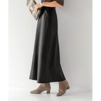 【スタイルデリ】 93cm丈エコレザーAラインスカート レディース ブラック M STYLE DELI