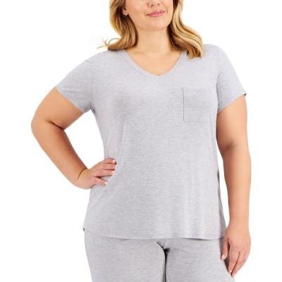 アルファニ Alfani レディース パジャマ・トップのみ 大きいサイズ インナー・下着 Plus Size Pajama T-Shirt Hy Grey Hthr