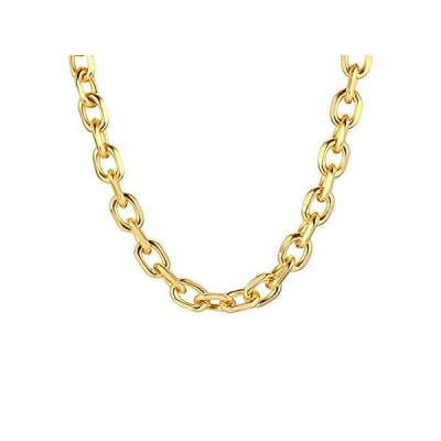 Gamtic Chunky Oval Cable Chain Necklace for Women,24k Gold Plated Oversized好評販売中