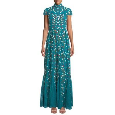 アリス アンド オリビア レディース ワンピース トップス Arwen Embroidered Godet Gown