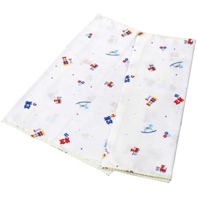 イサム商会 綿100% 日本製 ガーゼ入浴タオル おもちゃ柄 33x70センチメートル (x 2) 2枚