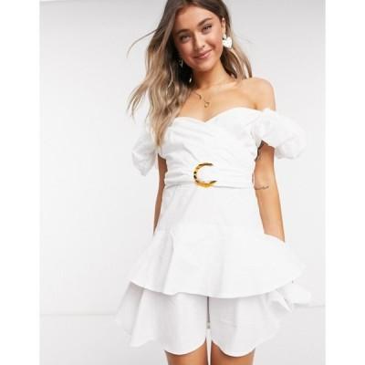 アウトレイジャスフォーチュン レディース ワンピース トップス Outrageous Fortune puff sleeve wrap over ruffle mini dress in white