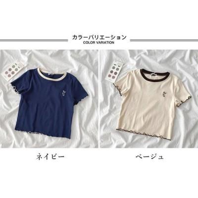 半袖TシャツレディーススリムTシャツ夏Tシャツクルーネックカットソー夏TシャツサマーTシャツ半袖レトロ可愛い