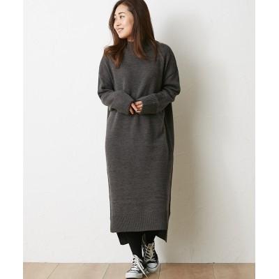 袖折り返しハイネックニットロングワンピース (ワンピース)Dress