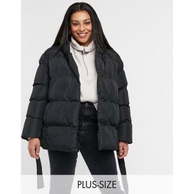 スリードベア Threadbare Curve レディース ダウン・中綿ジャケット アウター stanley oversized padded jacket with hood and tie waist ブラック