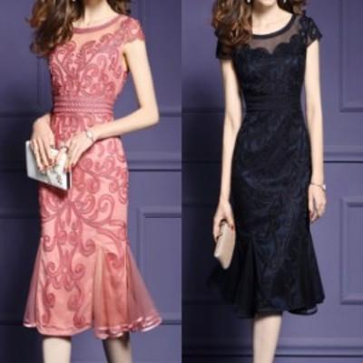 刺繍 ドレス ワンピース 半袖 膝丈 ミディ丈 シースルー マーメイド 大きいサイズ 2L 3L 4L お呼ばれ 結婚式 パーティードレス