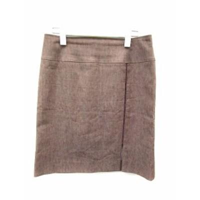 【中古】トラサルディ TRUSSARDI スカート 台形 ひざ丈 42 茶 ブラウン 赤 レッド /MR19 レディース