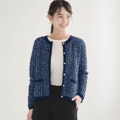 顔周りを品よく彩るツイード調ニットジャケット[日本製](花笑むとき/hana emu toki)