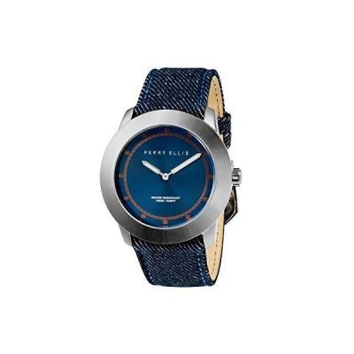 Perry Ellis Minimalist Men Watch Waterproof 44mm Quartz Watch Luminous Ultra Slim Denim Strap Blue Dial Men 11001-05