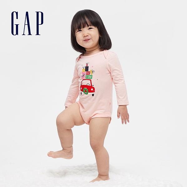 Gap嬰兒 棉質可愛印花長袖包屁衣 663823-粉色