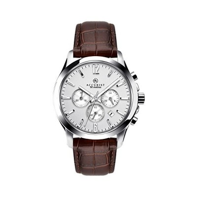 Accurist Men's Quartz Watch with Silver Dial Chronograph Display and Brown Leather Strap 7197 並行輸入品