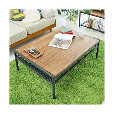 ガーデンガーデン アイアン*ウッド センターテーブル 95cmタイプ 幅95cm×奥行68.5cm×高さ35cm パイン材 オイル仕上?
