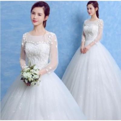 ウエディングドレス ホワイト 安い 結婚式 花嫁 ロングドレス 二次会 レース パーティードレス フォーマルドレス 人気 体型カバー 白ドレ