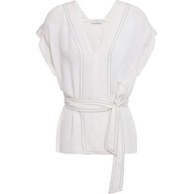 サンドロ SANDRO レディース ブラウス・シャツ トップス charline tie-front washed-silk blouse Ecru