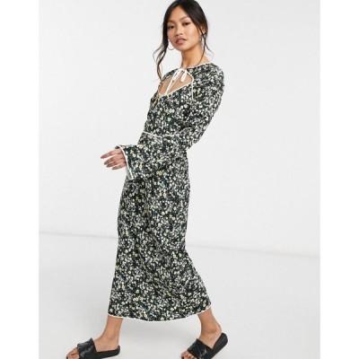 ファッションユニオン Fashion Union レディース ワンピース ミドル丈 midi dress with keyhole and contrast piping in ditsy floral ブラック