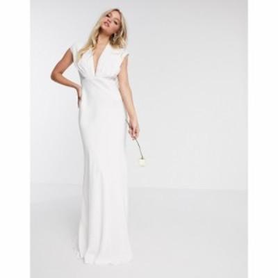 エイソス ASOS EDITION レディース パーティードレス ウェディングドレス Asos Edition Rebecca Ruched Plunge Satin Wedding Dress アイ