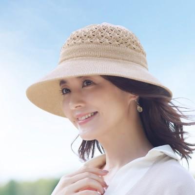 風が通る綿のツバ広UV帽子 ダークグレー