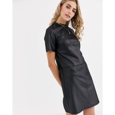 ニュールック レディース ワンピース トップス New Look pocket detail leather look smock dress in black