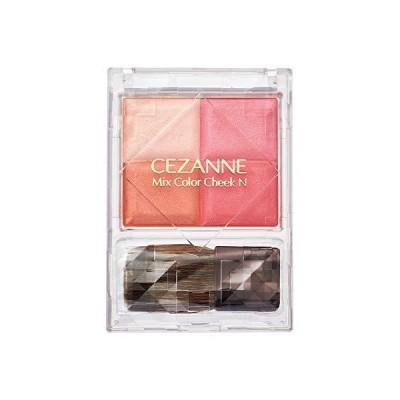 セザンヌ ミックスカラーチークN02 ピュアコーラル 7.1g パウダーチーク しっとり 4色グラデーション ブラシ付き