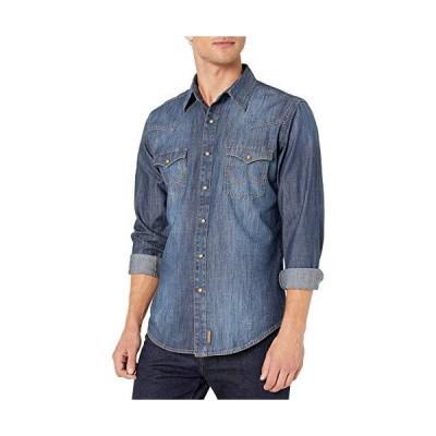 Wrangler Men's Retro Two Pocket Long Sleeve Snap Shirt, Blue Denim, S